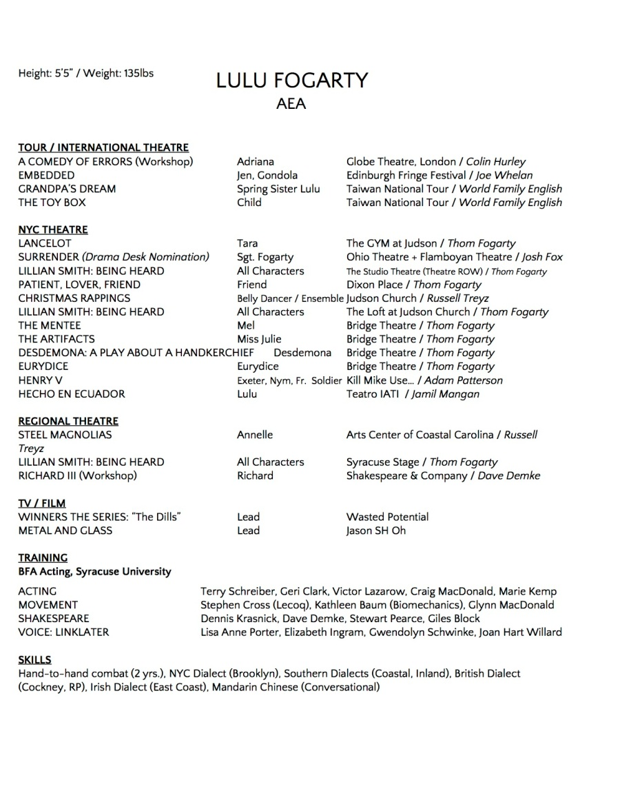 Copy of Fogarty Acting Resume